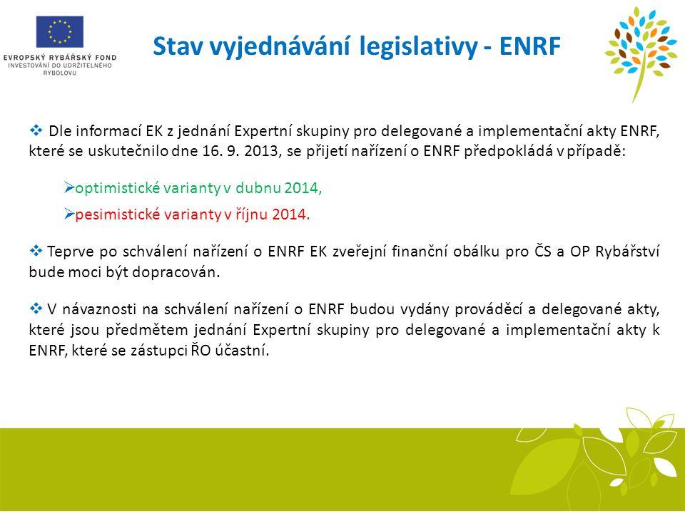 Stav vyjednávání legislativy - ENRF  Dle informací EK z jednání Expertní skupiny pro delegované a implementační akty ENRF, které se uskutečnilo dne 1
