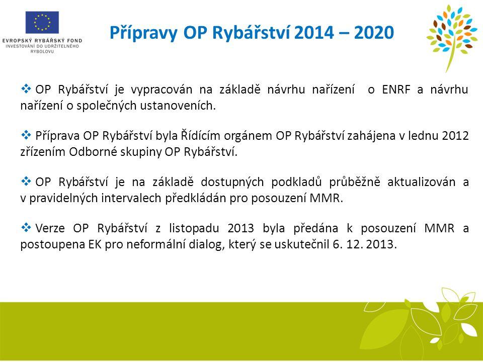 Přípravy OP Rybářství 2014 – 2020  OP Rybářství je vypracován na základě návrhu nařízení o ENRF a návrhu nařízení o společných ustanoveních.  Přípra