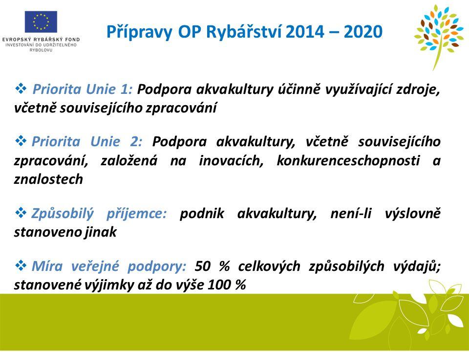 Přípravy OP Rybářství 2014 – 2020  Priorita Unie 1: Podpora akvakultury účinně využívající zdroje, včetně souvisejícího zpracování  Priorita Unie 2: