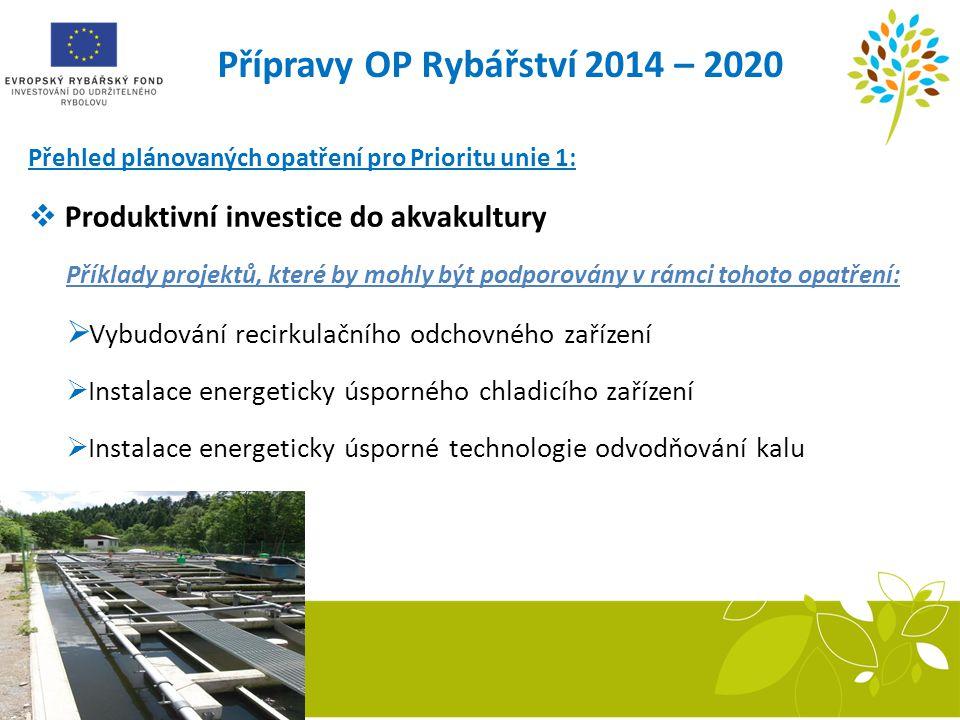 Přípravy OP Rybářství 2014 – 2020 Přehled plánovaných opatření pro Prioritu unie 1:  Produktivní investice do akvakultury Příklady projektů, které by