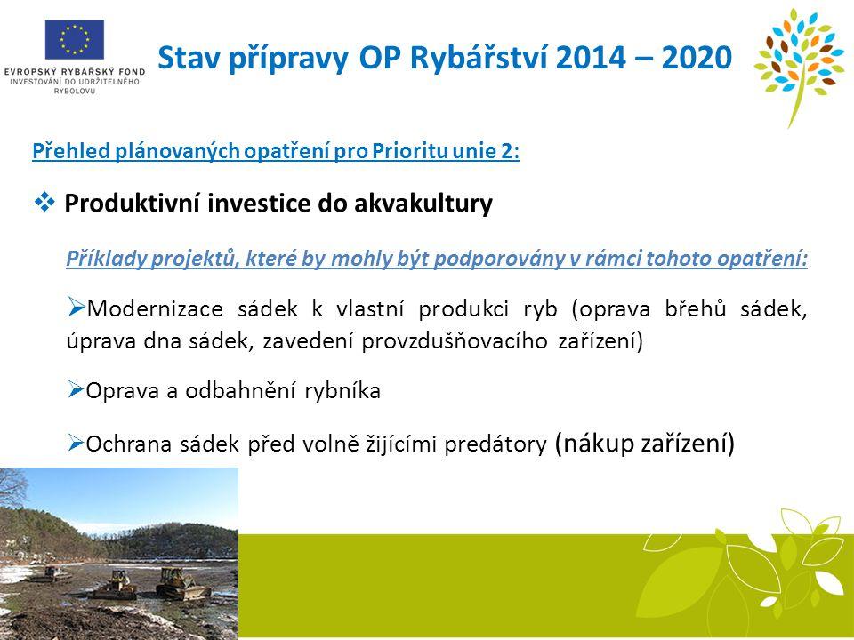 Stav přípravy OP Rybářství 2014 – 2020 Přehled plánovaných opatření pro Prioritu unie 2:  Produktivní investice do akvakultury Příklady projektů, kte