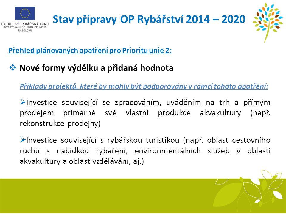 Stav přípravy OP Rybářství 2014 – 2020 Přehled plánovaných opatření pro Prioritu unie 2:  Nové formy výdělku a přidaná hodnota Příklady projektů, kte