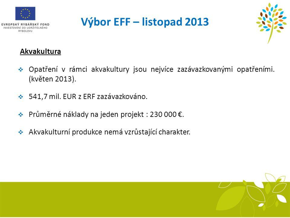 Akvakultura  Opatření v rámci akvakultury jsou nejvíce zazávazkovanými opatřeními. (květen 2013).  541,7 mil. EUR z ERF zazávazkováno.  Průměrné ná