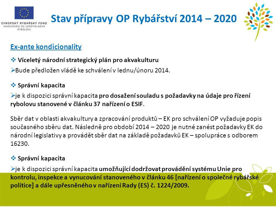 Stav přípravy OP Rybářství 2014 – 2020 Ex-ante kondicionality  Víceletý národní strategický plán pro akvakulturu  Bude předložen vládě ke schválení
