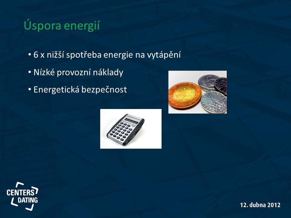 Úspora energií 6 x nižší spotřeba energie na vytápění Nízké provozní náklady Energetická bezpečnost