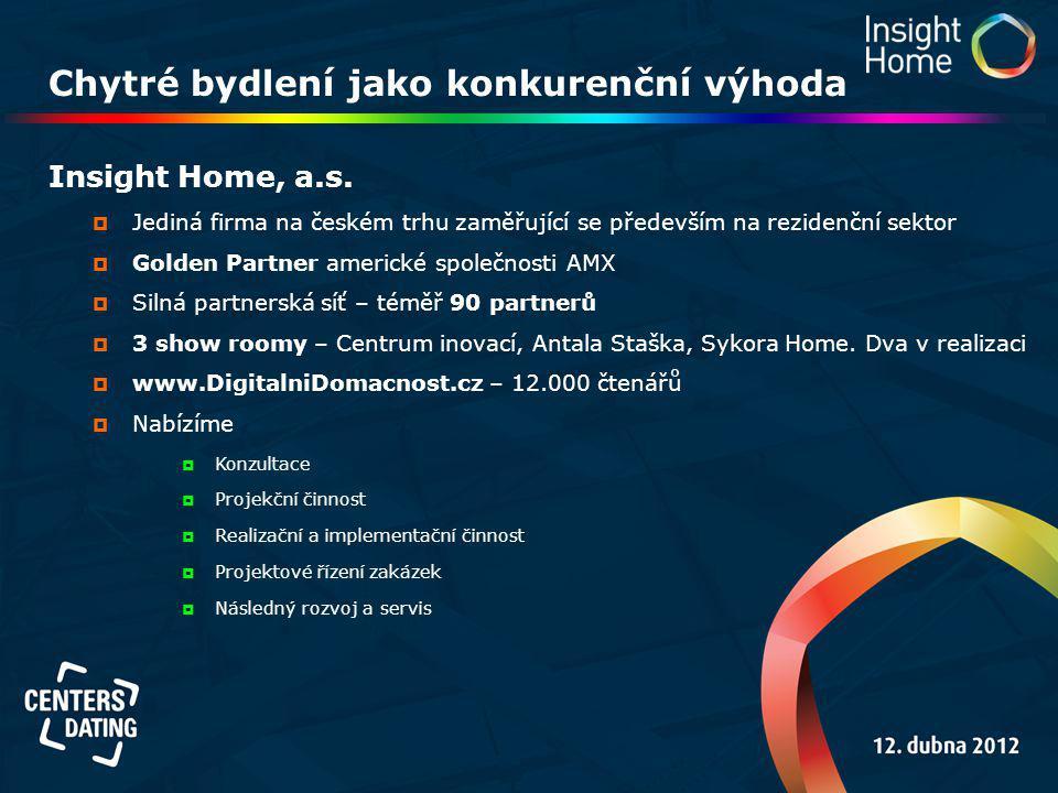 Chytré bydlení jako konkurenční výhoda Insight Home, a.s.  Jediná firma na českém trhu zaměřující se především na rezidenční sektor  Golden Partner