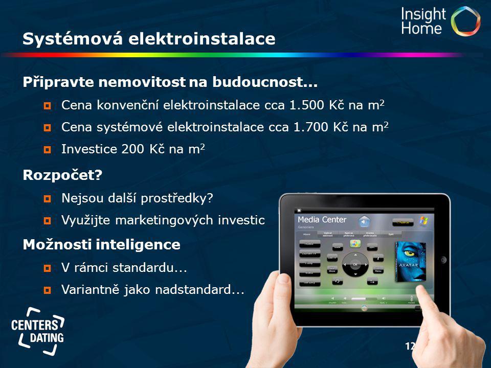 Systémová elektroinstalace Připravte nemovitost na budoucnost...  Cena konvenční elektroinstalace cca 1.500 Kč na m 2  Cena systémové elektroinstala