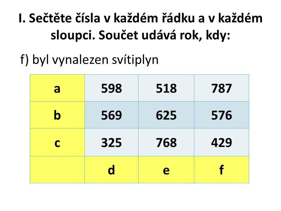 I. Sečtěte čísla v každém řádku a v každém sloupci.