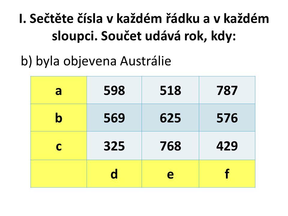 I.Sečtěte čísla v každém řádku a v každém sloupci.