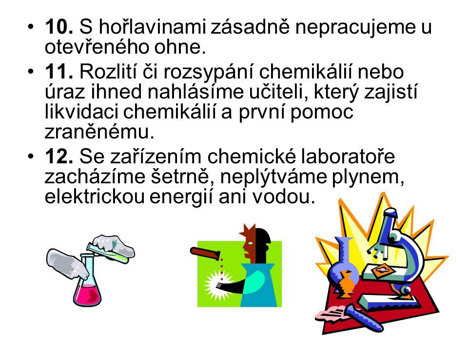 10. S hořlavinami zásadně nepracujeme u otevřeného ohne. 11. Rozlití či rozsypání chemikálií nebo úraz ihned nahlásíme učiteli, který zajistí likvidac