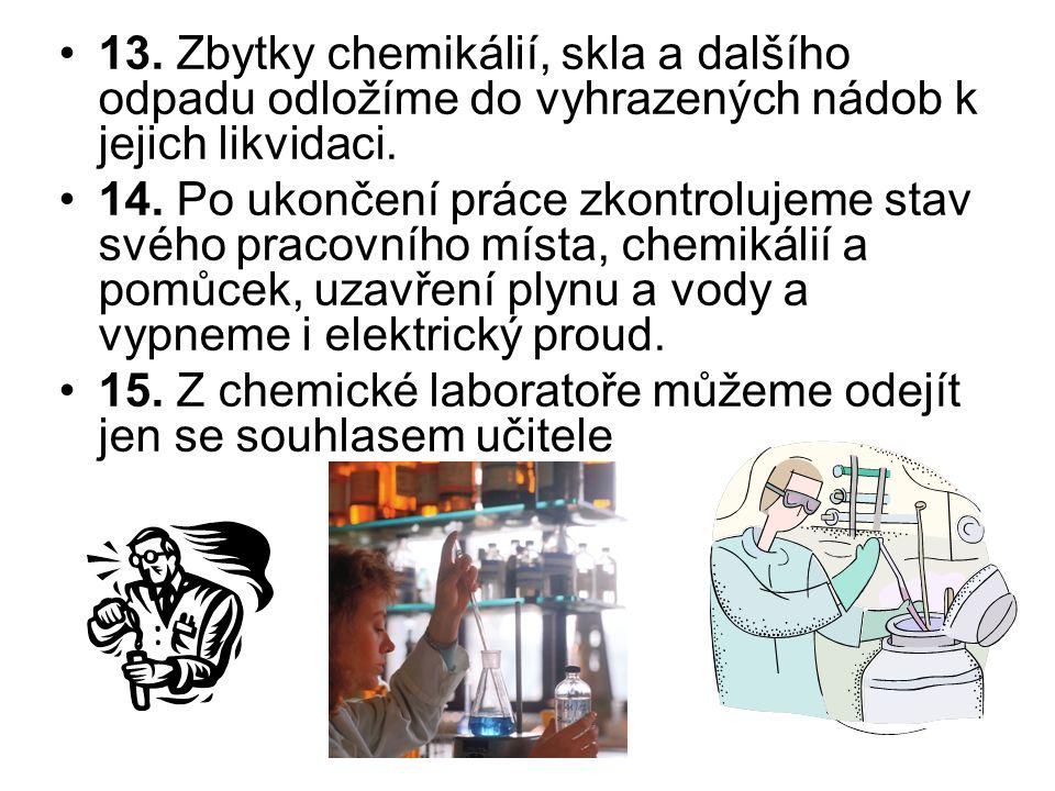13. Zbytky chemikálií, skla a dalšího odpadu odložíme do vyhrazených nádob k jejich likvidaci. 14. Po ukončení práce zkontrolujeme stav svého pracovní