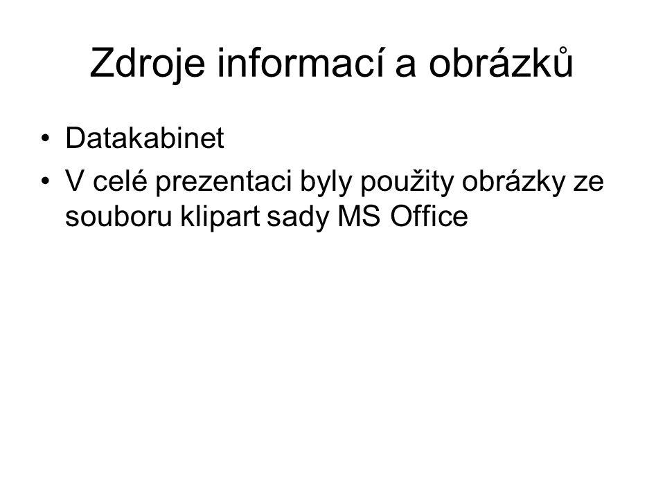 Zdroje informací a obrázků Datakabinet V celé prezentaci byly použity obrázky ze souboru klipart sady MS Office
