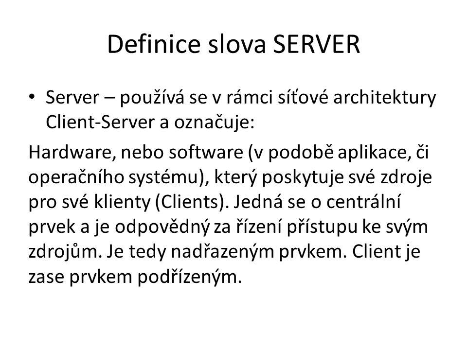 SERVER - druhy Hardware – počítač, nebo zařízení které je uzpůsobeno k poskytování svých zdrojů pro klienty.