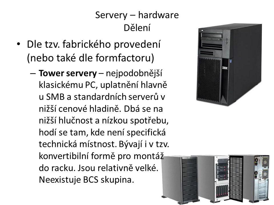 Rack-mount servery – určené k montáži do datového rozvaděče, normované rozměry (hloubka max.