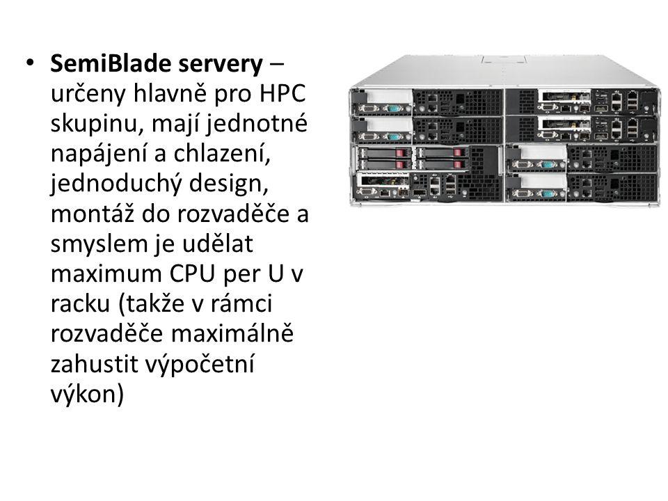 Blade servery – určeny především do datových center, plně zkonsolidovaná kabeláž, konsolidované napájení, chlazení, ale i veškerý networking a v současnosti i diskové úložiště.
