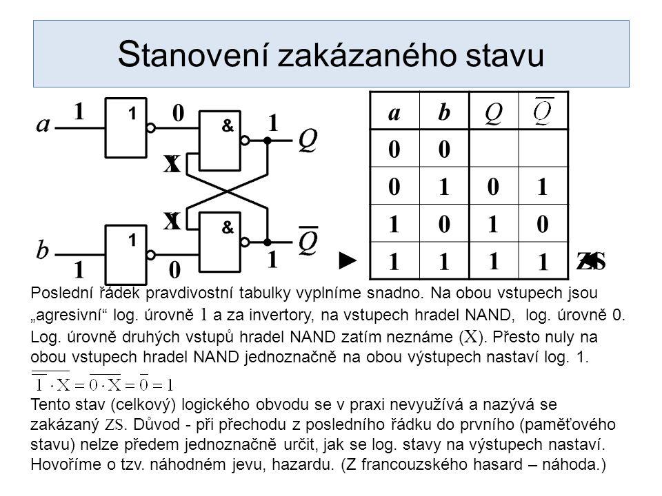 """1 S tanovení zakázaného stavu abQ 00 0101 1010 11 Poslední řádek pravdivostní tabulky vyplníme snadno. Na obou vstupech jsou """"agresivní"""" log. úrovně 1"""