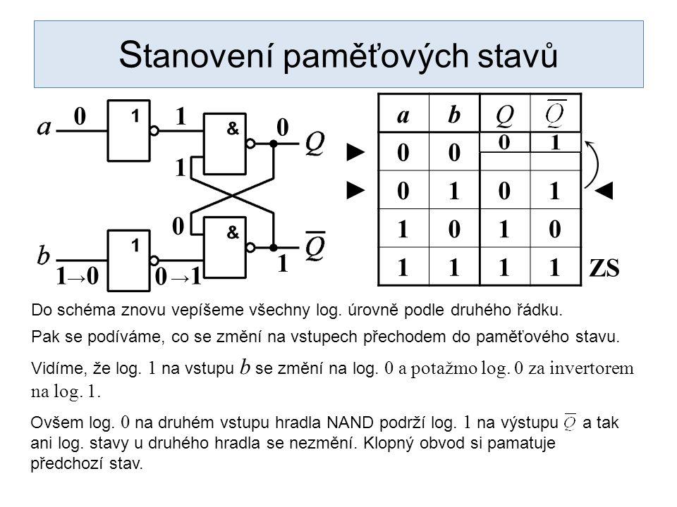 1 S tanovení paměťových stavů abQ 00 0101 1010 1111 Do schéma znovu vepíšeme všechny log. úrovně podle druhého řádku. 0 1 0 0 1 ◄ ► Pak se podíváme, c