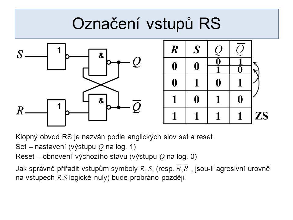 Označení vstupů RS RSQ 00 0101 1010 1111 ZS Klopný obvod RS je nazván podle anglických slov set a reset. Set – nastavení (výstupu Q na log. 1) Reset –