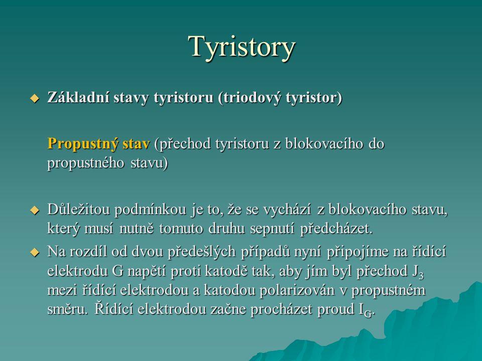 Tyristory  Základní stavy tyristoru (triodový tyristor) Propustný stav (přechod tyristoru z blokovacího do propustného stavu)  Důležitou podmínkou j