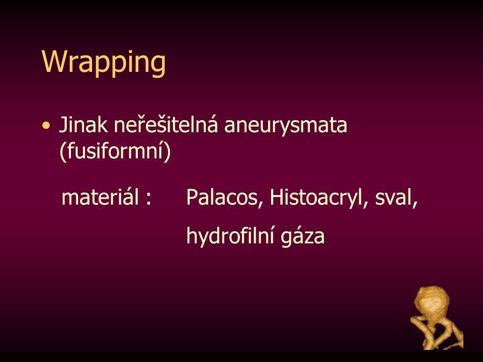 Wrapping Jinak neřešitelná aneurysmata (fusiformní) materiál : Palacos, Histoacryl, sval, hydrofilní gáza