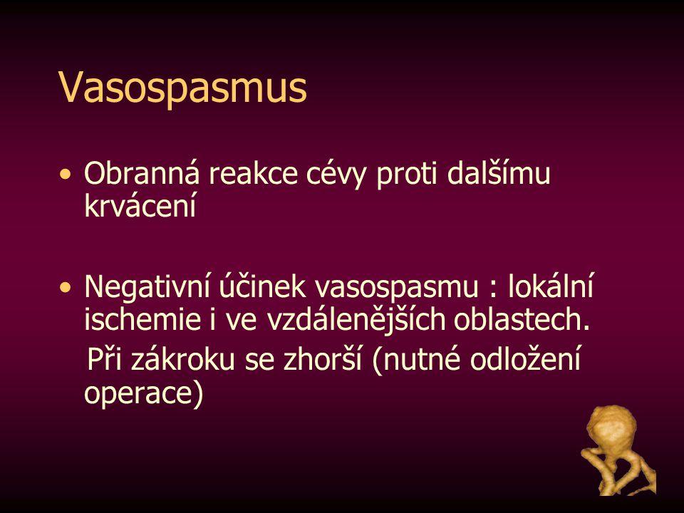 Vasospasmus Obranná reakce cévy proti dalšímu krvácení Negativní účinek vasospasmu : lokální ischemie i ve vzdálenějších oblastech. Při zákroku se zho