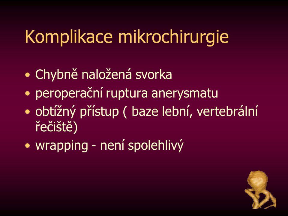 Komplikace mikrochirurgie Chybně naložená svorka peroperační ruptura anerysmatu obtížný přístup ( baze lební, vertebrální řečiště) wrapping - není spo