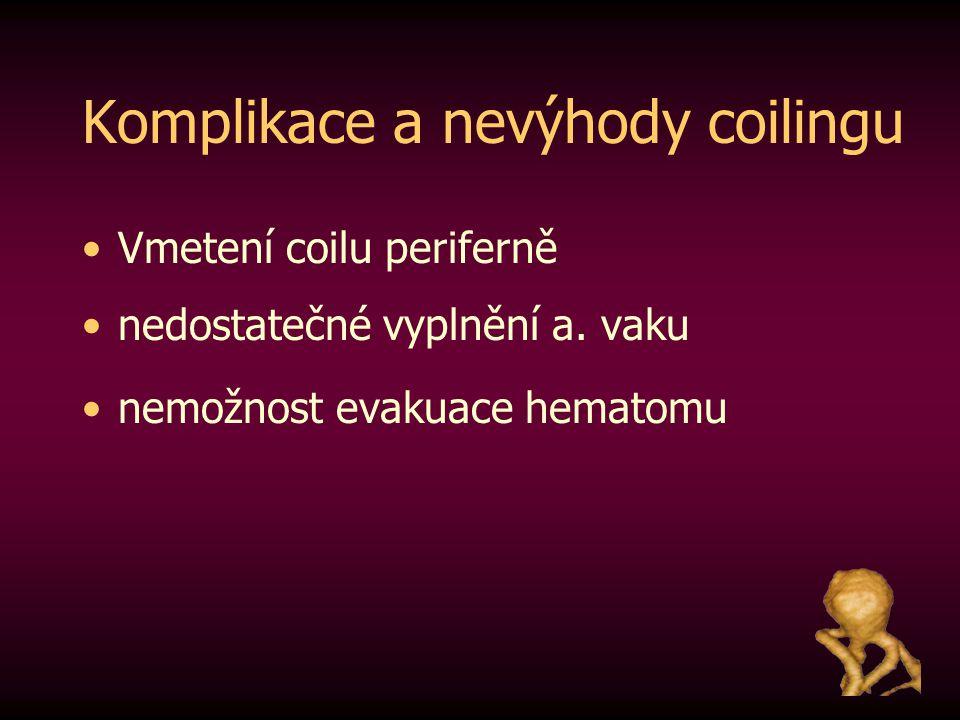 Komplikace a nevýhody coilingu Vmetení coilu periferně nedostatečné vyplnění a. vaku nemožnost evakuace hematomu