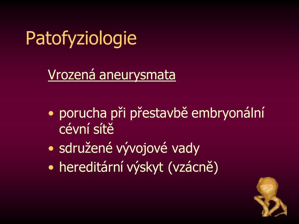 Patofyziologie Vrozená aneurysmata porucha při přestavbě embryonální cévní sítě sdružené vývojové vady hereditární výskyt (vzácně)