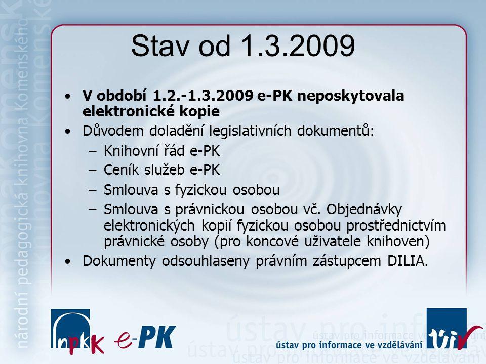 Stav od 1.3.2009 V období 1.2.-1.3.2009 e-PK neposkytovala elektronické kopie Důvodem doladění legislativních dokumentů: –Knihovní řád e-PK –Ceník služeb e-PK –Smlouva s fyzickou osobou –Smlouva s právnickou osobou vč.