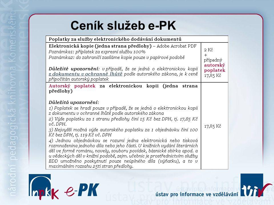 Ceník služeb e-PK