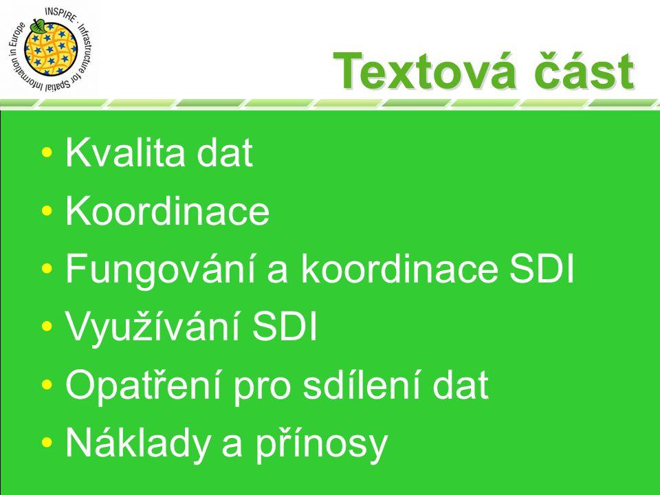 Textová část Kvalita dat Koordinace Fungování a koordinace SDI Využívání SDI Opatření pro sdílení dat Náklady a přínosy