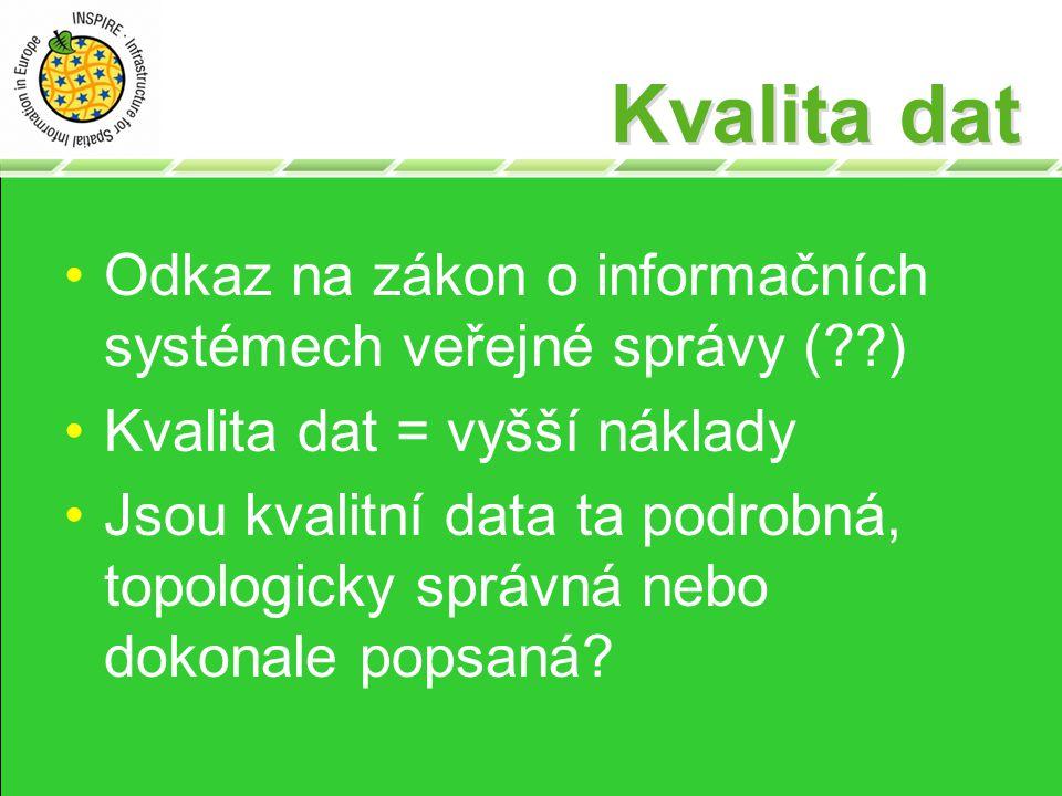Kvalita dat Odkaz na zákon o informačních systémech veřejné správy (??) Kvalita dat = vyšší náklady Jsou kvalitní data ta podrobná, topologicky správná nebo dokonale popsaná?