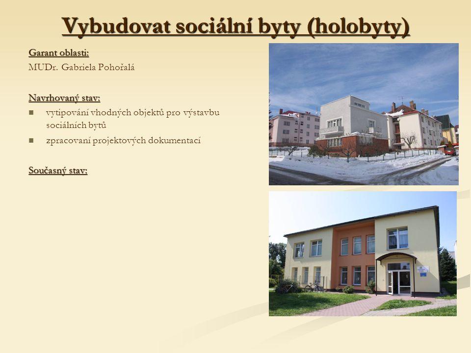 Vybudovat sociální byty (holobyty) Garant oblasti: MUDr.