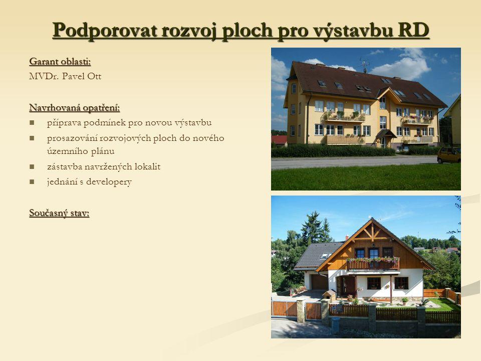 Podporovat rozvoj ploch pro výstavbu RD Garant oblasti: MVDr.