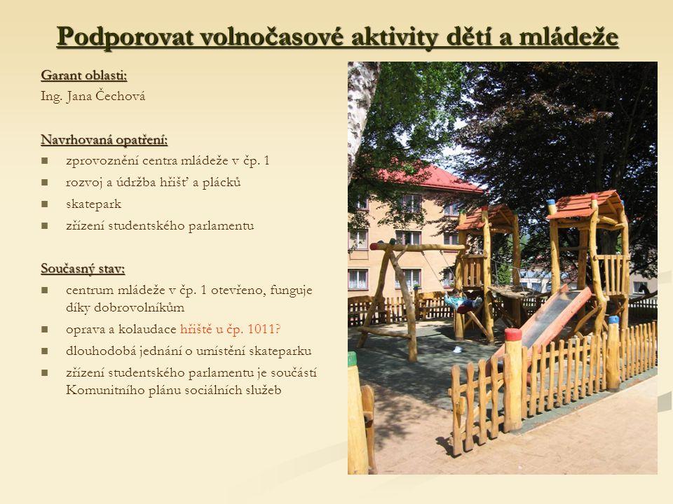 Podporovat volnočasové aktivity dětí a mládeže Garant oblasti: Ing.