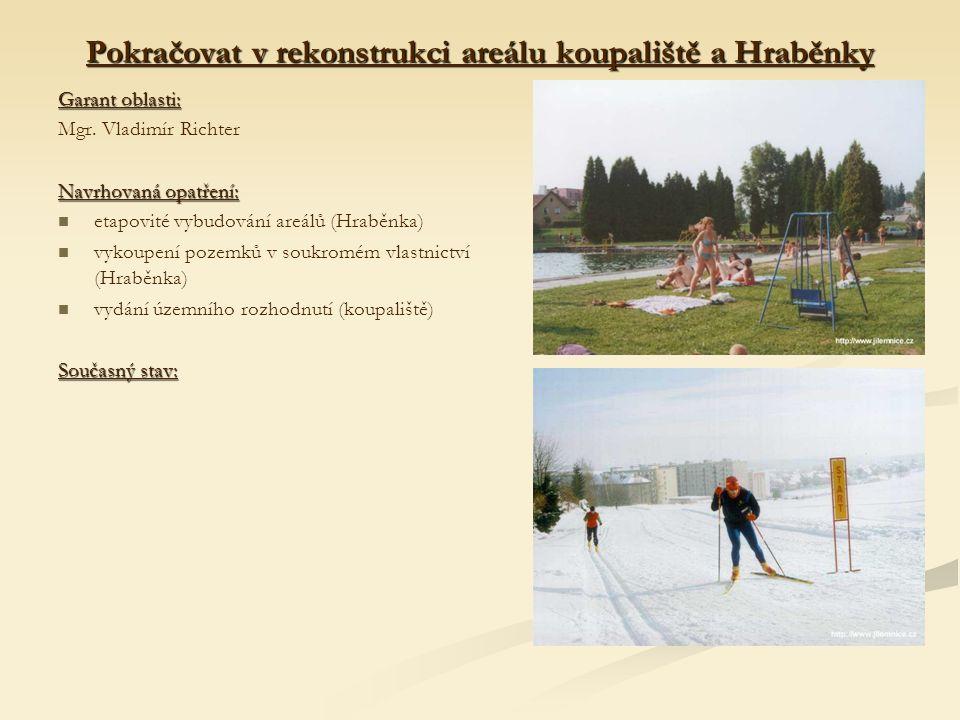 Pokračovat v rekonstrukci areálu koupaliště a Hraběnky Garant oblasti: Mgr.
