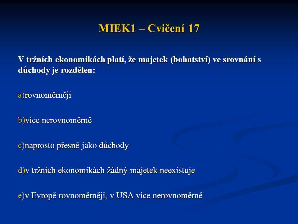 MIEK1 – Cvičení 17 V tržních ekonomikách platí, že majetek (bohatství) ve srovnání s důchody je rozdělen: a)rovnoměrněji b)více nerovnoměrně c)naprost