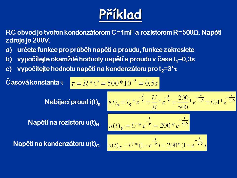 Příklad RC obvod je tvořen kondenzátorem C=1mF a rezistorem R=500 . Napětí zdroje je 200V. a)určete funkce pro průběh napětí a proudu, funkce zakresl