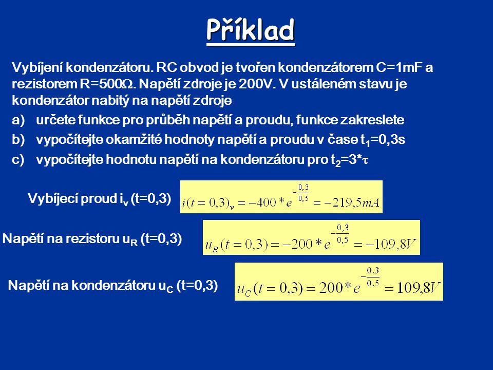 Příklad Vybíjení kondenzátoru. RC obvod je tvořen kondenzátorem C=1mF a rezistorem R=500 . Napětí zdroje je 200V. V ustáleném stavu je kondenzátor na