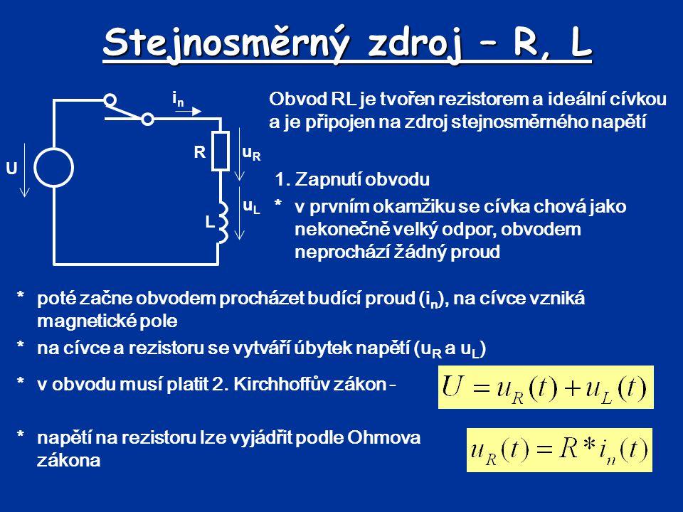 Stejnosměrný zdroj – R, L Obvod RL je tvořen rezistorem a ideální cívkou a je připojen na zdroj stejnosměrného napětí uRuR uLuL *poté začne obvodem pr