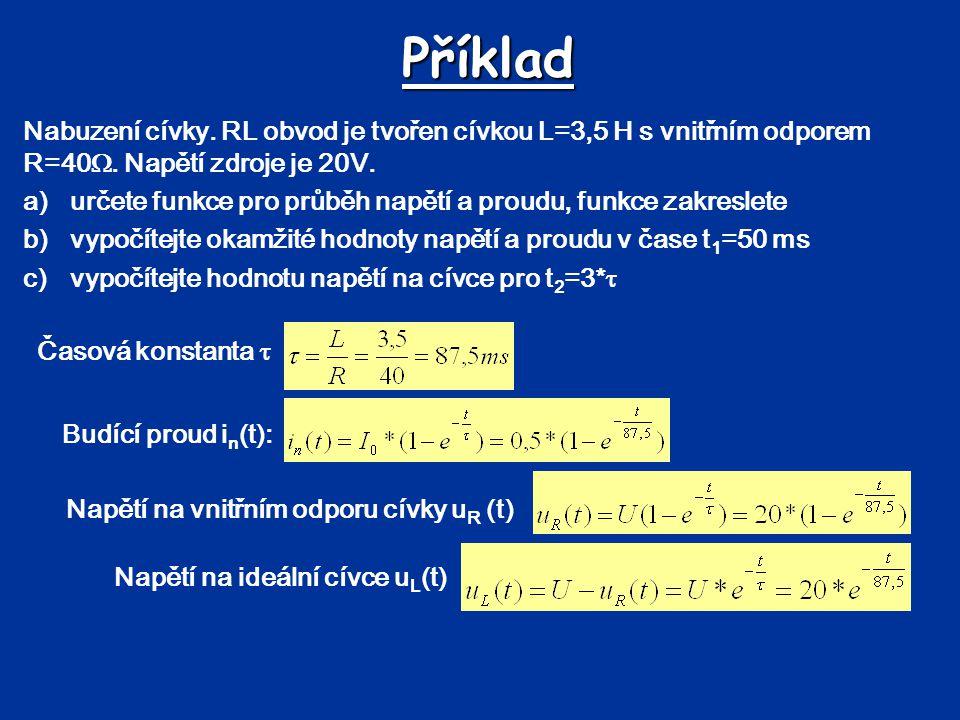 Příklad Nabuzení cívky. RL obvod je tvořen cívkou L=3,5 H s vnitřním odporem R=40 . Napětí zdroje je 20V. a)určete funkce pro průběh napětí a proudu,