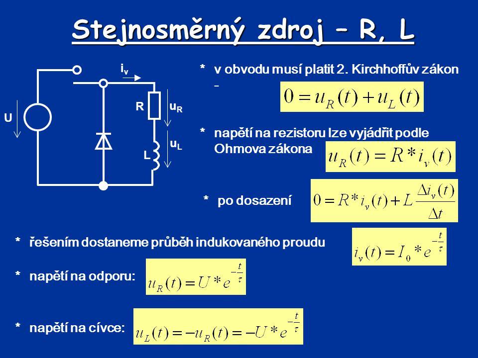 Stejnosměrný zdroj – R, L *v obvodu musí platit 2. Kirchhoffův zákon - *napětí na rezistoru lze vyjádřit podle Ohmova zákona uRuR uLuL iviv R L U *po