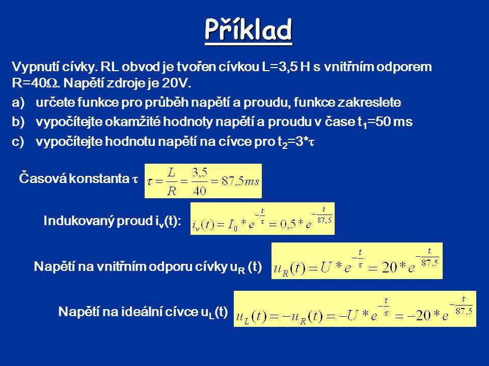 Příklad Vypnutí cívky. RL obvod je tvořen cívkou L=3,5 H s vnitřním odporem R=40 . Napětí zdroje je 20V. a)určete funkce pro průběh napětí a proudu,