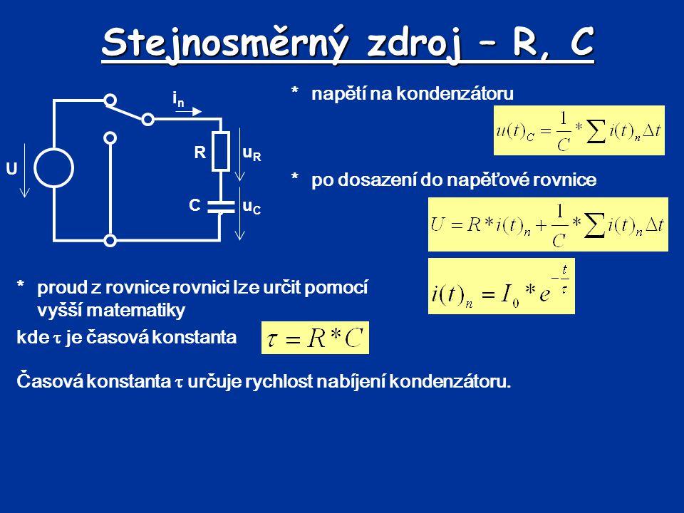 Časový průběh nabíjení *proud v obvodu (nabíjecí proud)  klesající exponenciální funkce *napětí na rezistoru  klesající exponenciální funkce *napětí na kondenzátoru  rostoucí exponenciální funkce
