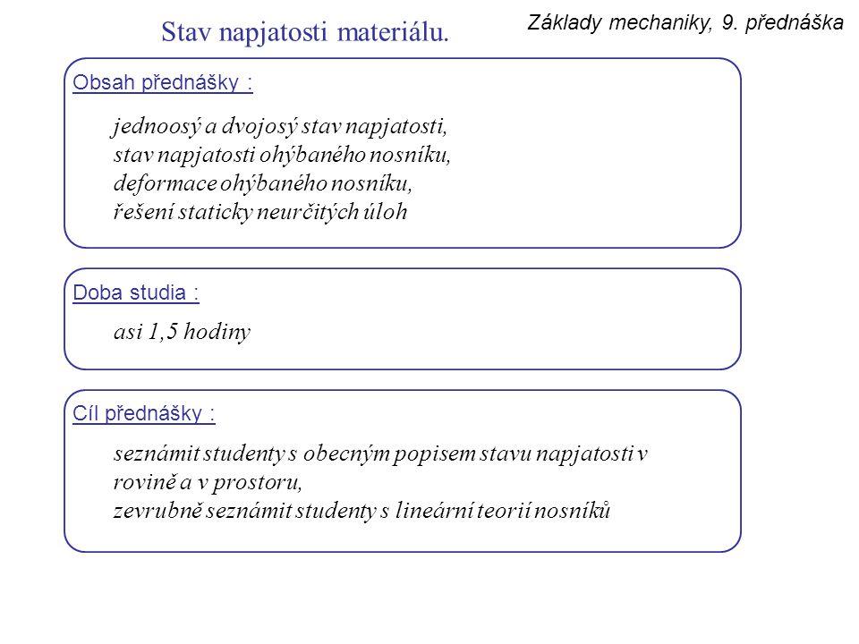 Základy mechaniky, 9. přednáška Stav napjatosti materiálu. Obsah přednášky : jednoosý a dvojosý stav napjatosti, stav napjatosti ohýbaného nosníku, de
