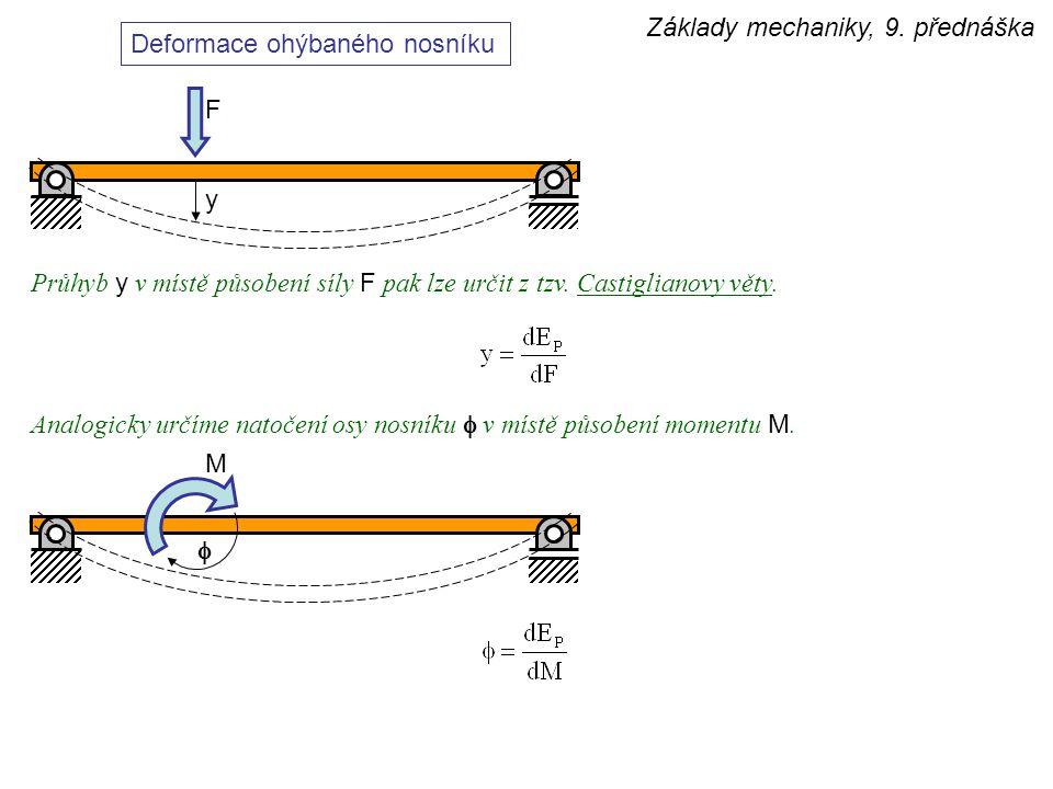 Základy mechaniky, 9. přednáška Deformace ohýbaného nosníku Průhyb y v místě působení síly F pak lze určit z tzv. Castiglianovy věty. y F Analogicky u