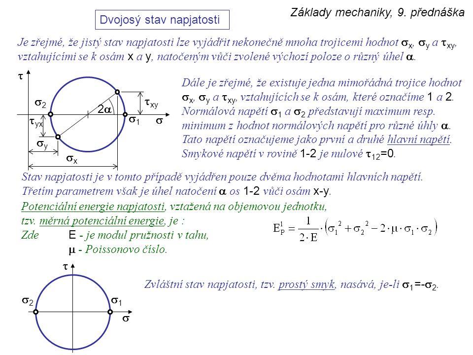Základy mechaniky, 9. přednáška Dvojosý stav napjatosti Je zřejmé, že jistý stav napjatosti lze vyjádřit nekonečně mnoha trojicemi hodnot  x,  y a 