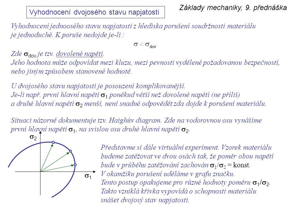 Základy mechaniky, 9. přednáška Vyhodnocení dvojosého stavu napjatosti Vyhodnocení jednoosého stavu napjatosti z hlediska porušení soudržnosti materiá