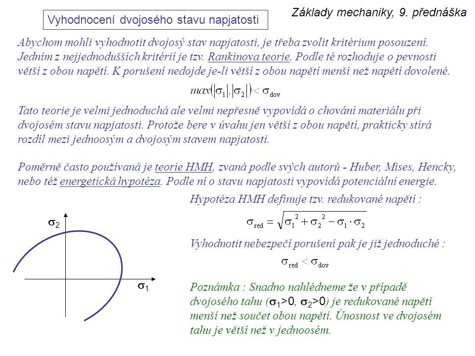 Základy mechaniky, 9. přednáška Vyhodnocení dvojosého stavu napjatosti Abychom mohli vyhodnotit dvojosý stav napjatosti, je třeba zvolit kritérium pos