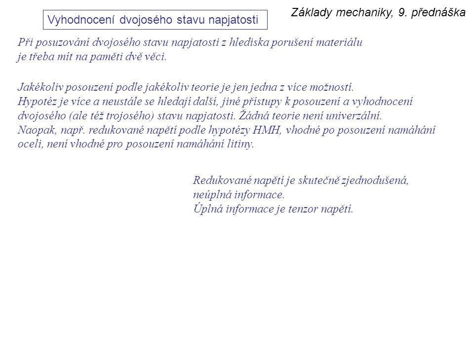 Základy mechaniky, 9. přednáška Vyhodnocení dvojosého stavu napjatosti Při posuzování dvojosého stavu napjatosti z hlediska porušení materiálu je třeb